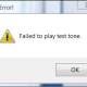 Windows 8: Failed to play test tone