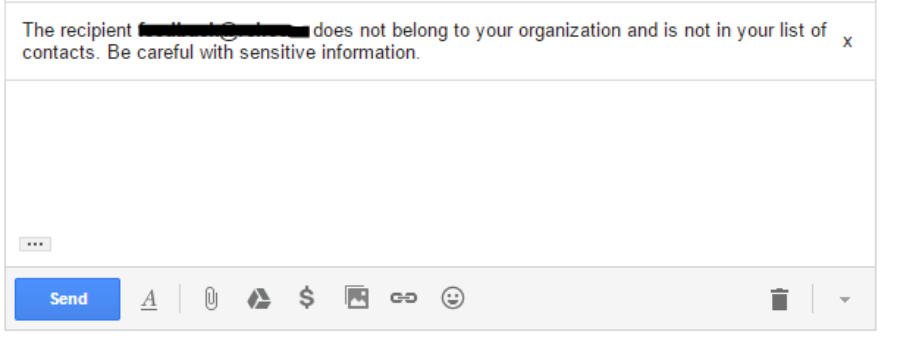 [SOLVED] The recipient does not belong to your organization and is not in your list of contacts.